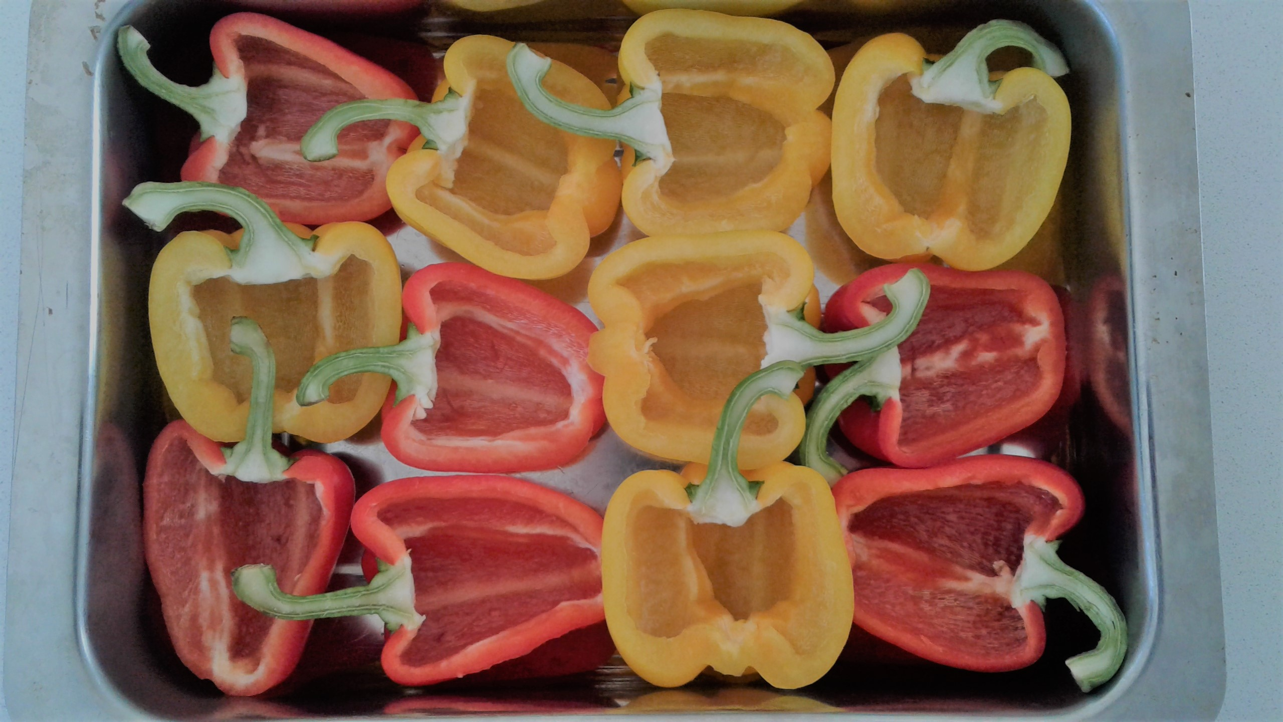 Halved peppers