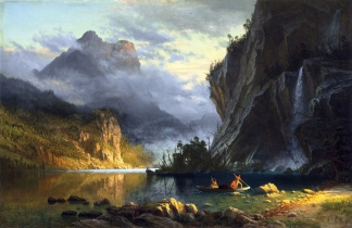 Albert Bierstadt – The Museum of Fine Arts (Houston). Title: Indians Spear Fishing. Date: 1862. Materials: oil on canvas. Dimensions: 48.9 x 74.3 cm. Inscriptions: ABierstadt/62 (lower right). Nr.: ? Source: http://commons.wikimedia.org/wiki/File:Albert_Bierstadt_-_Indians_spear_fishing_(1862).jpg. I have changed the light, contrast and colors of the original photo.