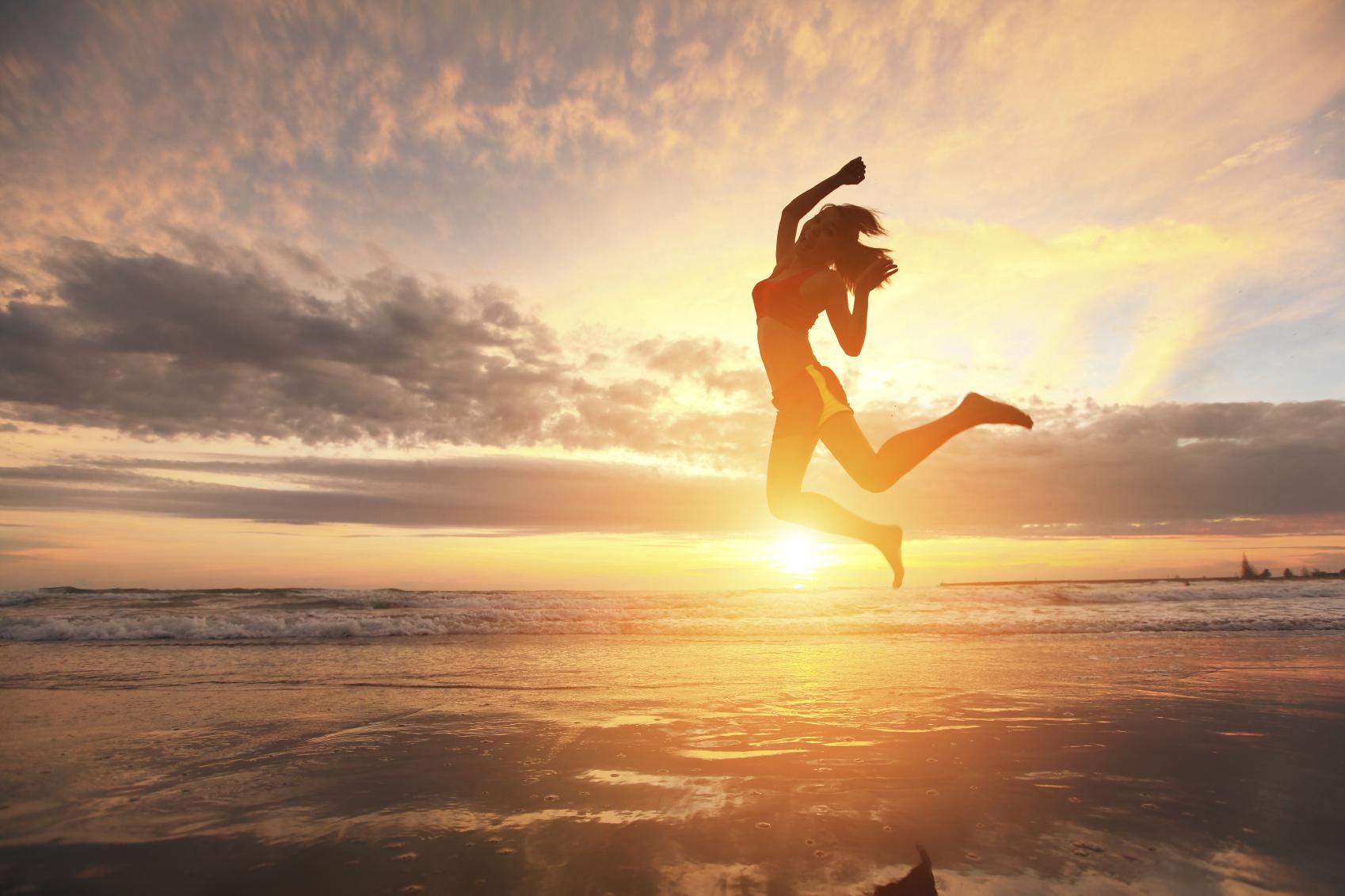 Happy jump sport woman