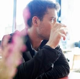 chris drinking coffee